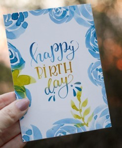 Happy Birthday - Lettering Postkarte