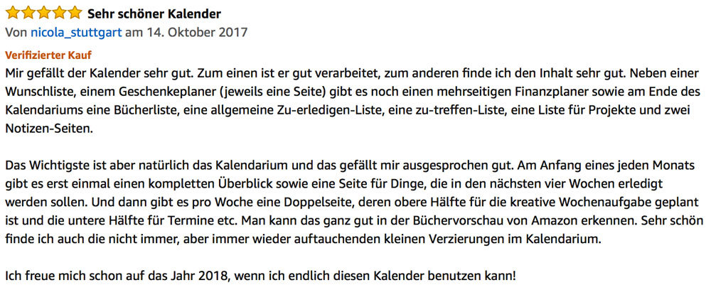 Kreativkalender Rezension bei Amazon