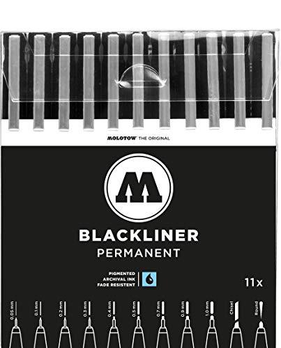 Molotow Blackliner (Fineliner mit permanenter, dokumentenechter Tinte, Strichstärke 0,05 mm bis 1,0 mm, Keilspitze und Rundspitze) 11er Etui schwarz
