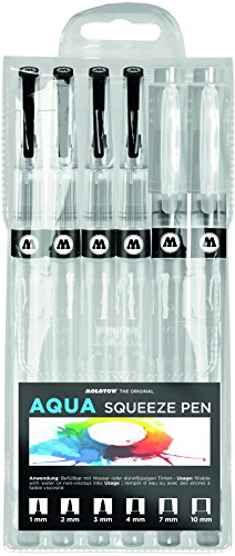 AQUA Squeeze Pen Basic-Set 2 MOLOTOW Empty Brushmarker 1mm / 2mm / 3mm / 4mm / 7mm / 10mm