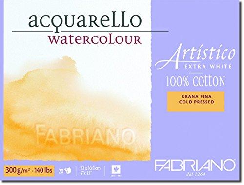 Honsell 312330 - Fabriano Artistico Acquarello Watercolour, hochwertiger Künstler - Aquarellkarton, extra weiß, Feinkorn cold pressed, ca. 23 x 30,5 cm, 20 Blatt 300 g/m²