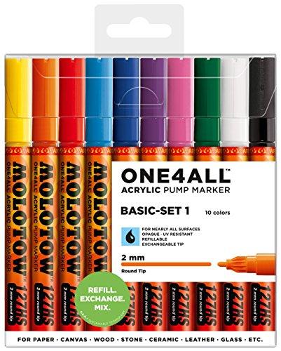 Molotow One4All 127HS Acryl Marker (Basic-Set 1, 2 mm Spitze, hochdeckend und permanent, UV-beständig, für fast alle Untergründe) 10 Stück sortiert