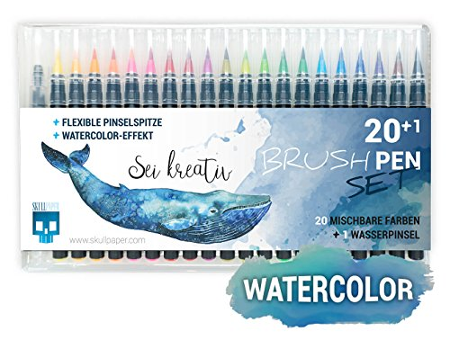 SKULLPAPER® Watercolor Brush Pen Set - Pinselstifte weich und flexibel - langlebige Aquarellstifte