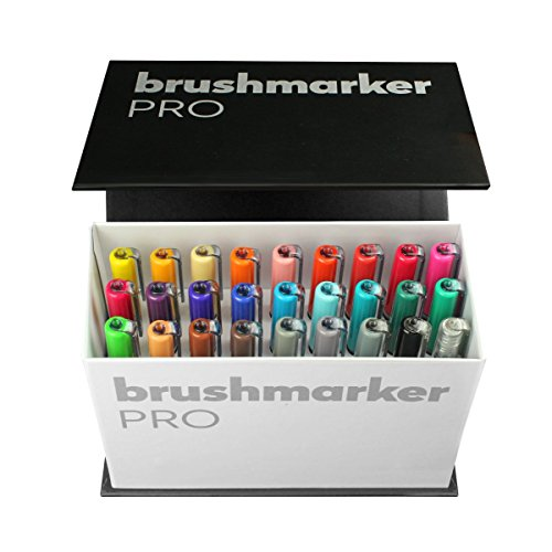 KARIN Mini Box Brushmarker PRO Brushmarker Pro 26 Stück + 1 Blender transparenter Körper mit Ink-Free System, 2, 4 ml Flüssiger Farbe. Kein Filzstiftmarker