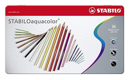 Aquarell-Buntstift - STABILO aquacolor - 36er Metalletui - mit 36 verschiedenen Farben