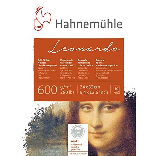 Aquarellblock Leonardo matt 600g/m², 24x32cm, 10Blatt