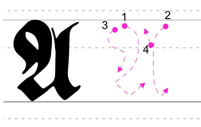 Frakturschrift großes A auf Raster mit Linienfolge