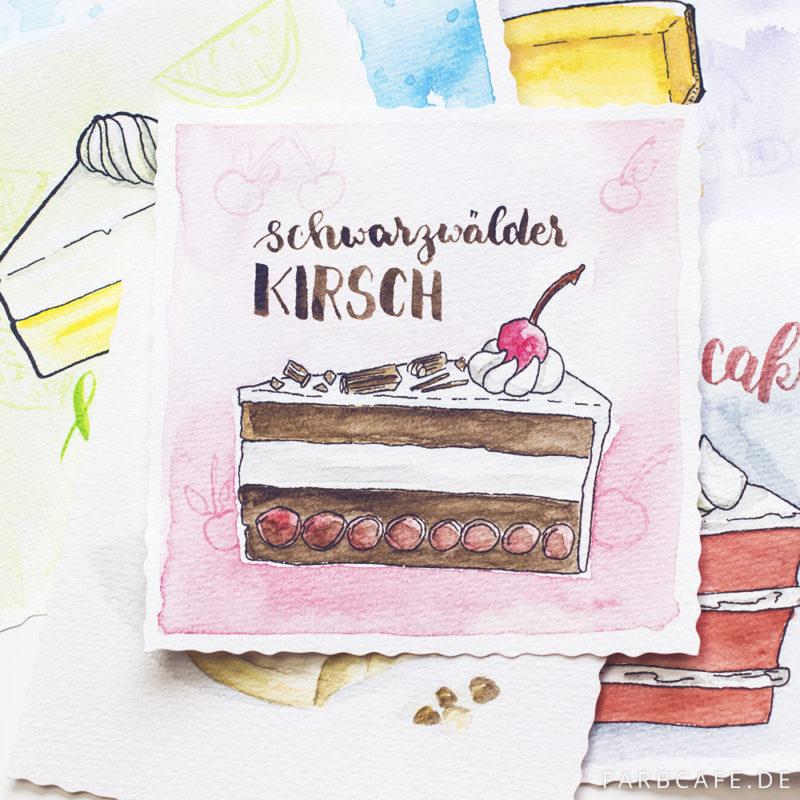 Kuchen-Illustrationen in Aquarell und Tusche auf Canson-Aquarellpapier.
