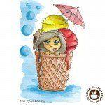 Aquarell Illustration Eisbecher von GraViech.de