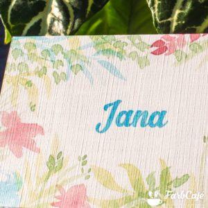 Florale Tischkarte, gedruckt auf Spezialpapier für den Tintenstrahldrucker.
