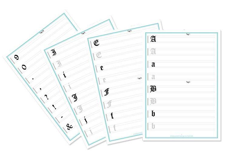 Kalligraphie Challenge Übungsbögen zum Ausdrucken