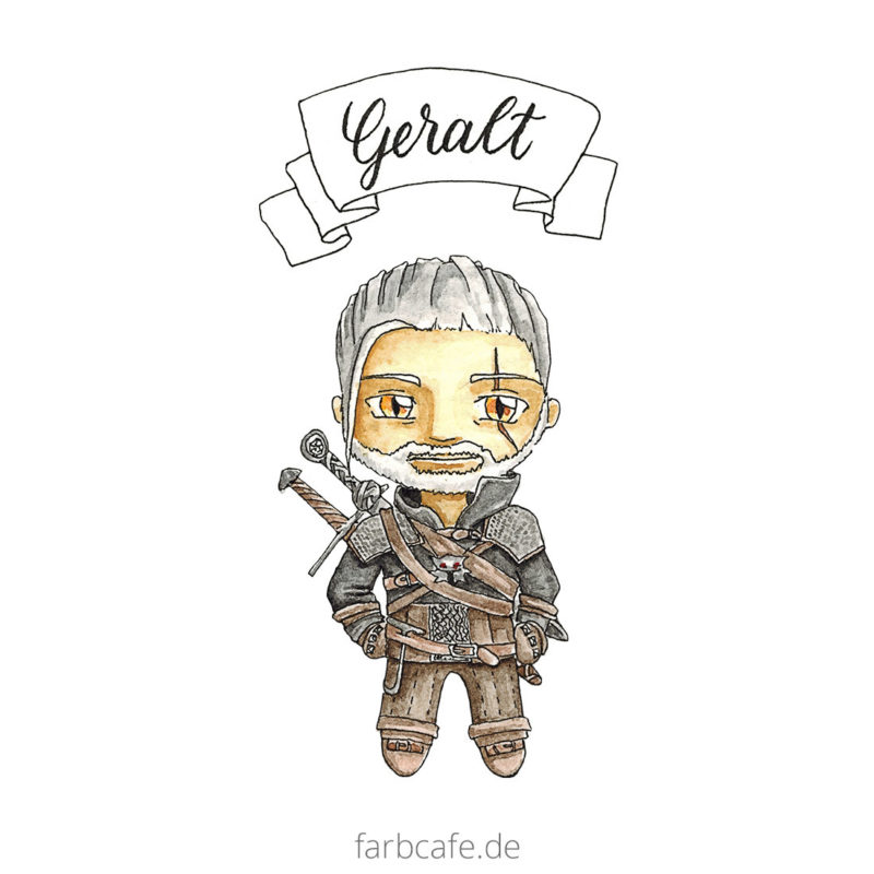 The Witcher Geralt von Riva How To Watercolor Speedpainting Timelapse