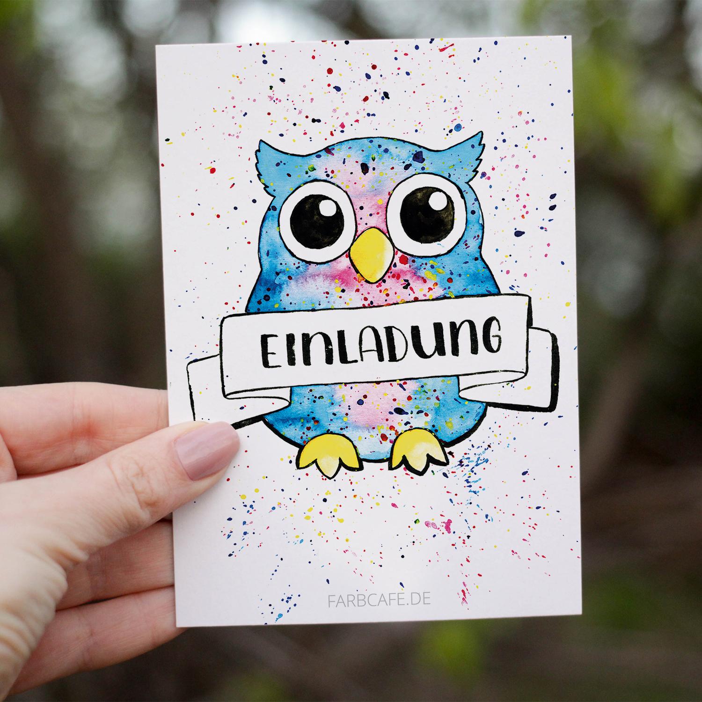 Einladungskarte Eule von Hand illustriert