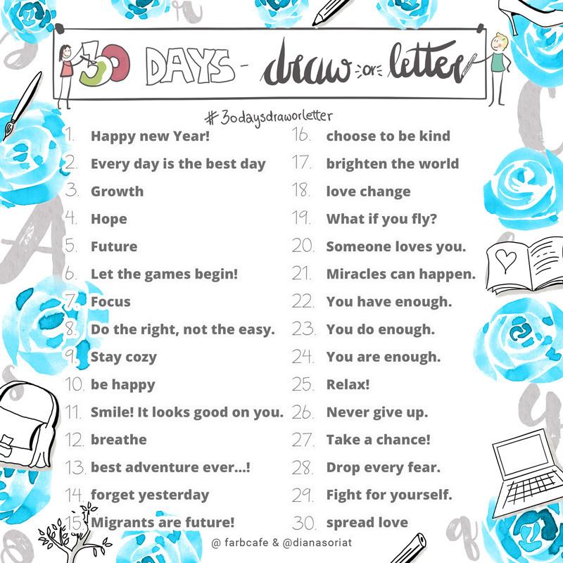 30daysdraworletter Challenge für Sketchnotes und Lettering