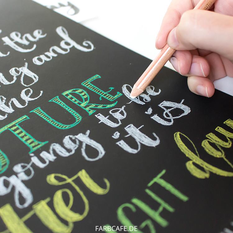 Lettering mit Soft Pastell Stiften auf FotoKarton