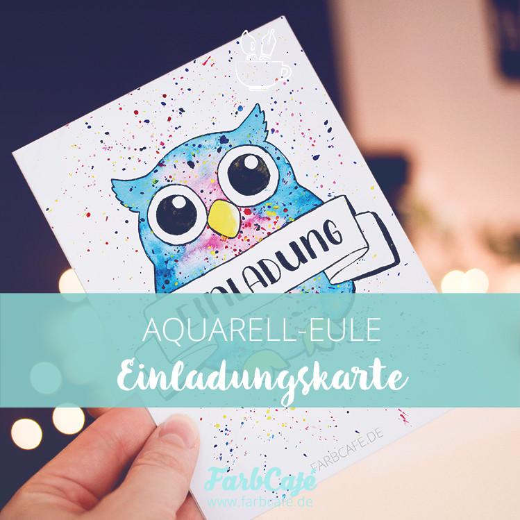 Einladungskarte Eule mit Aquarell illustriert und hochwertig gedruckt