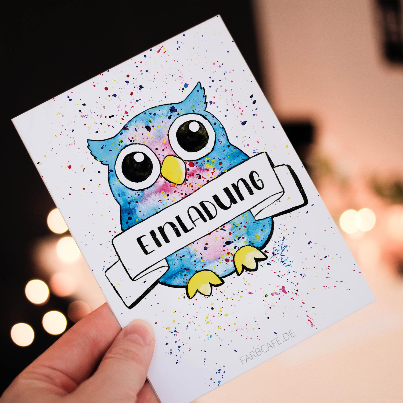 Galaxy Eule Einladung - Postkarte