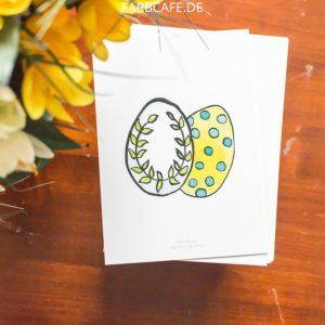 Zwei bunte Eier - Postkarte