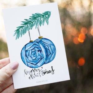 Merry Christmas Blumenkugeln Postkarte