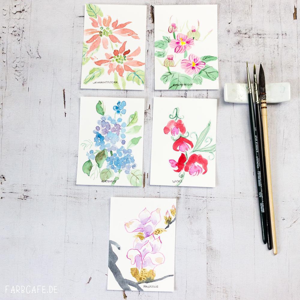 Blüten in chinesischer Tuschmalerei [Inktober 2017] #Cheatober