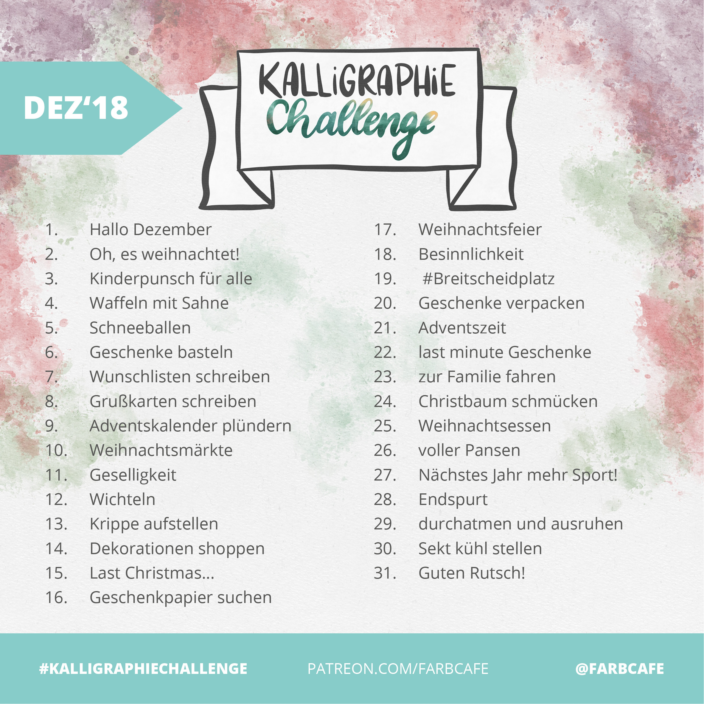 KalligraphieChallenge Dezember 2018 - FarbCafe