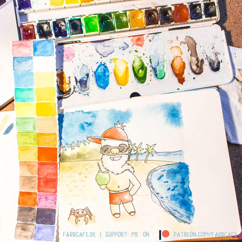 Aquarell Skizzenbuch mit Weihnachtsmann und Kokosnuss