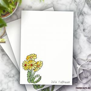 Personalisierter Briefblock mit Löwenzahn-Motiv und deinem Namen