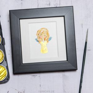 Kleiner Engel in Aquarell mit Rahmen und Passepartout. Funkelnde Goldfarbe, Wasserfarben, Fertig zum Aufhängen