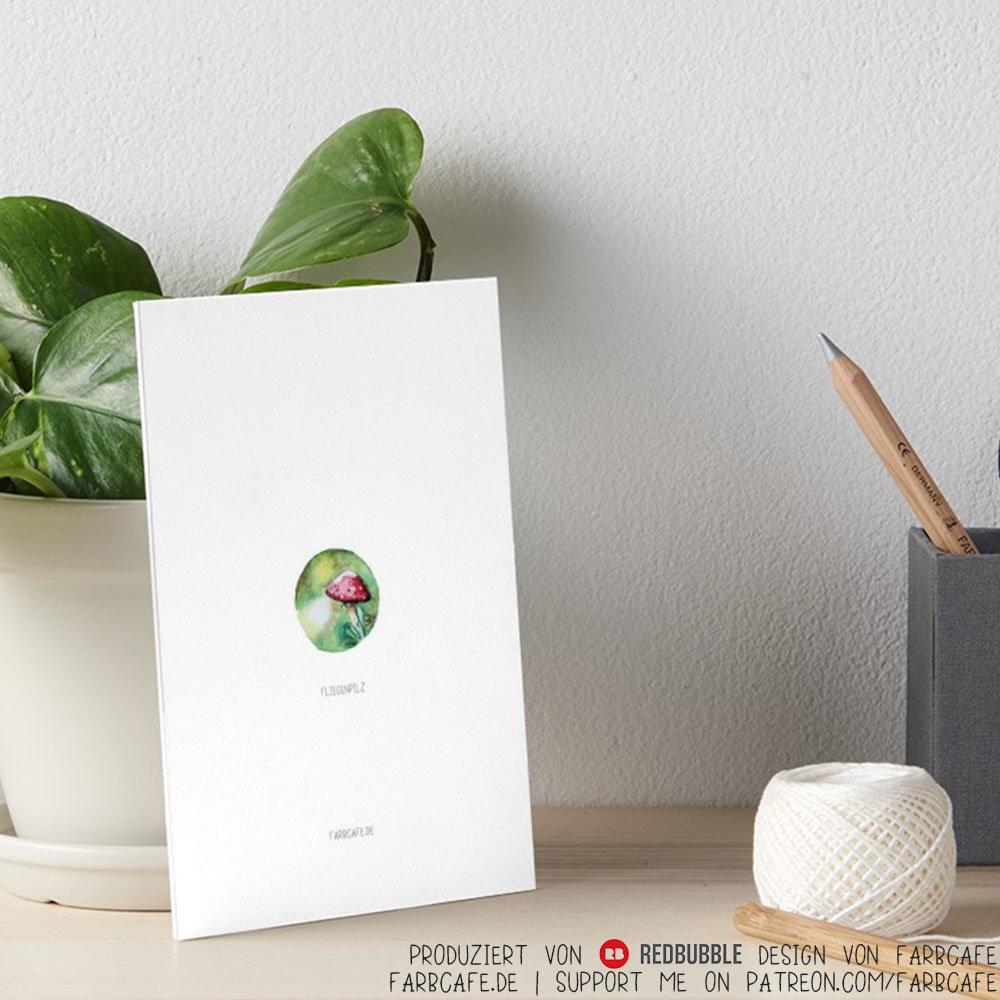 Fliegenpilz Miniatur Aquarell als Print