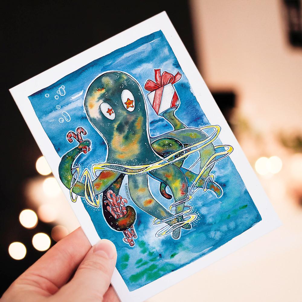 Geschenke-Kraken mit Zuckerstangen - Postkarte