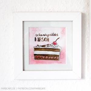 Kleines gerahmtes Aquarell mit Kuchen-Illustration (Schwarzwälder Kirsch) und Handlettering