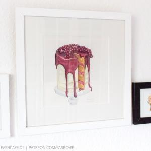 Rote Torte, gerahmtes Küchenaquarell mit Kuchen-Motiv
