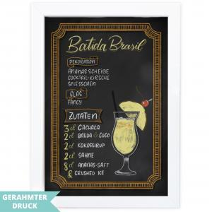 Poster A4 | Kunstdruck mit Rahmen (21x30 cm) | Batida Brasil Cocktailrezept im Kreidetafel-Stil