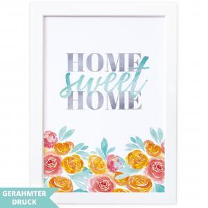 Poster A4 | Kunstdruck mit Rahmen (21x30 cm) | Home sweet home