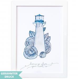 Poster A4 | Kunstdruck mit Rahmen (21x30 cm) | Leuchtturm