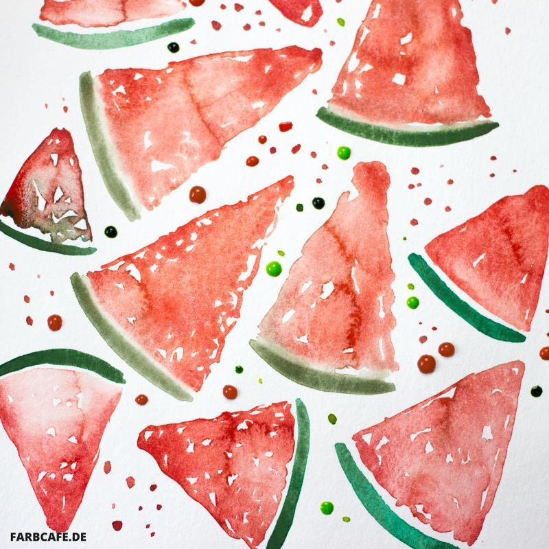 Aquarell Wassermelone Muster von FarbCafé