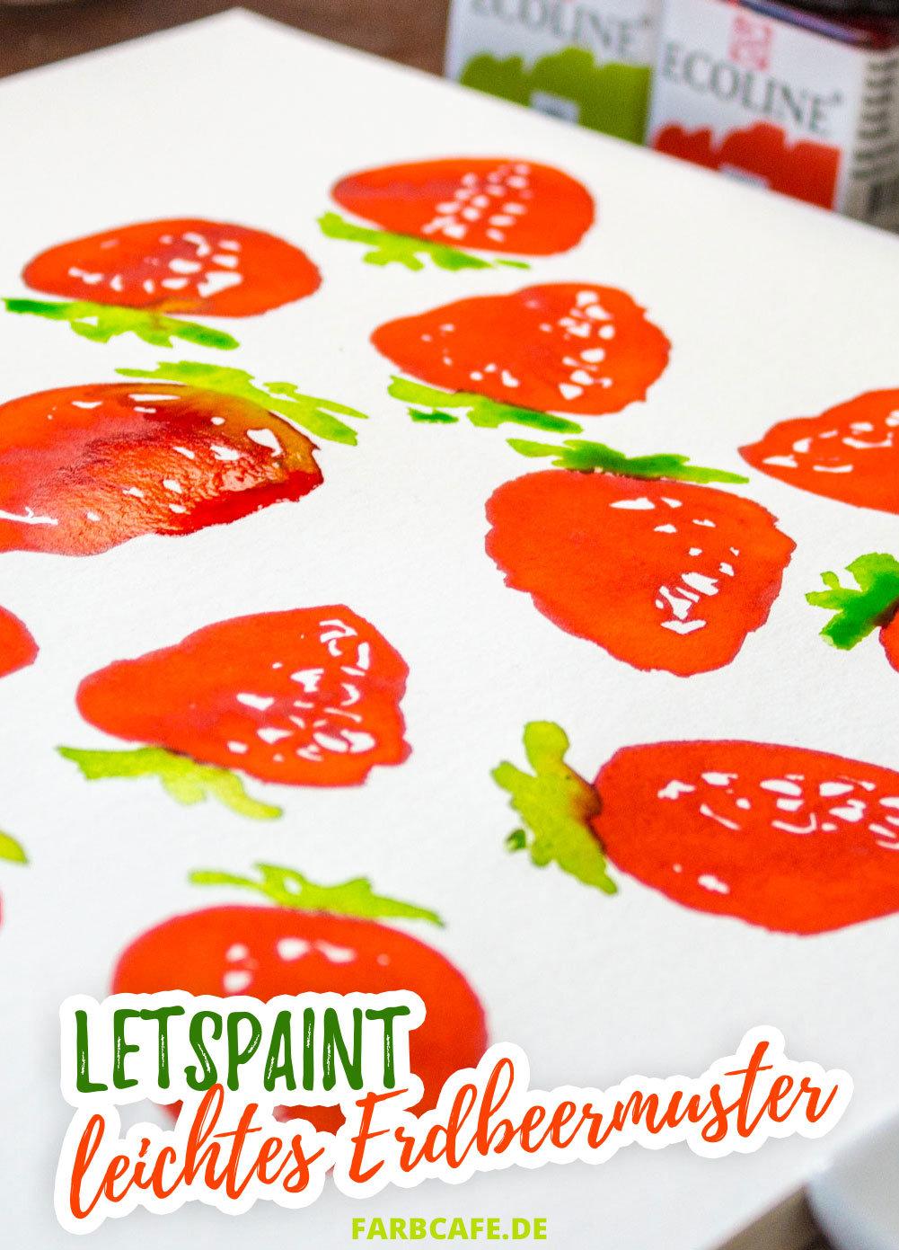 Wir malen zusammen ein ganz einfaches und sommerliches Erdbeermuster mit nur zwei Farben!