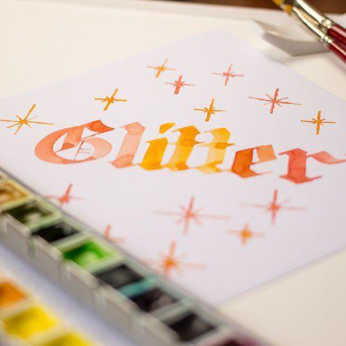 Glitter - Blackletter Kalligraphie FarbCafe.de