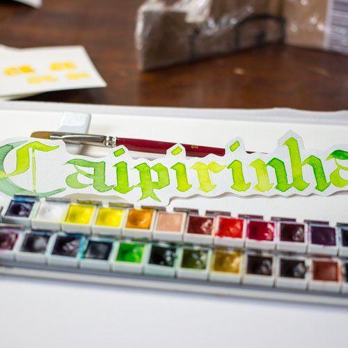 Caipirinha Blackletter Lettering Aquarell Grün farbcafe.de