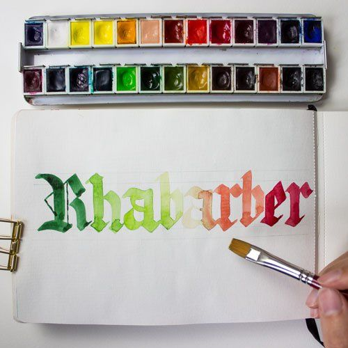Rhabarber Blackletter Kalligraphie Lettering farbcafe.de Aquarell Watercolor