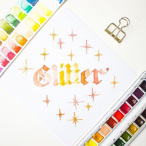 Glitter Blackletter Gotisch Textur Kalligraphie Lettering Übungsbuch Download PDF farbcafe.de