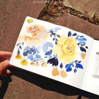 Blumen malen in Aquarell. Gelbe Rosen in Aquarell-Skizzenbuch [Videokurs]