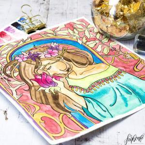 Farbcafe.de - Original Aquarell Malerei Im Jugendstil mit Goldeinsätzen