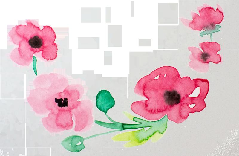 Lose Blumen in Aquarell Pinker Mohnkranz | FarbCafé