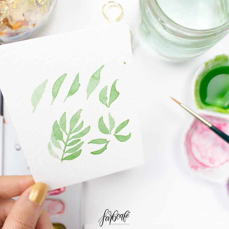 Aquarellblumen-Mini-Kurs Farn und Blätter