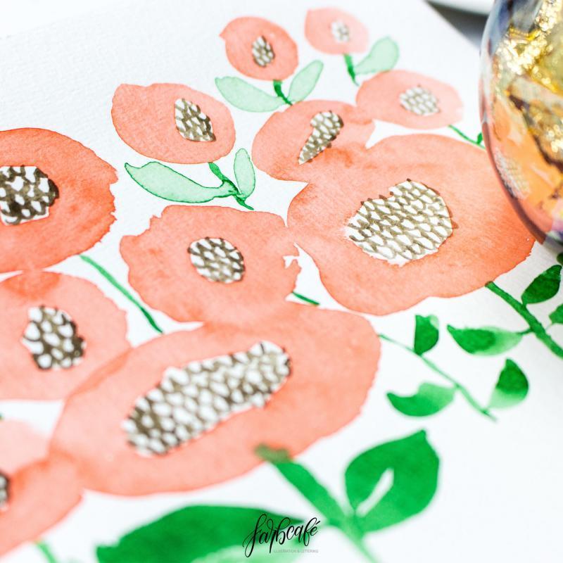 Aquarell Blumen auf Aquarellpapier