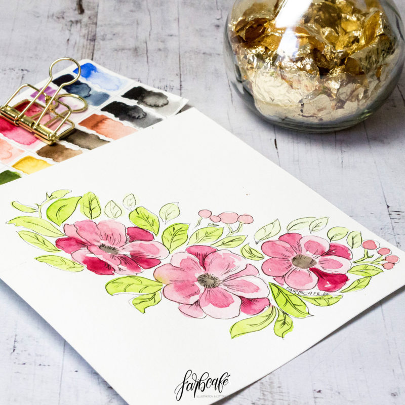 Aquarell Blumen abstrakte Kirschblüte