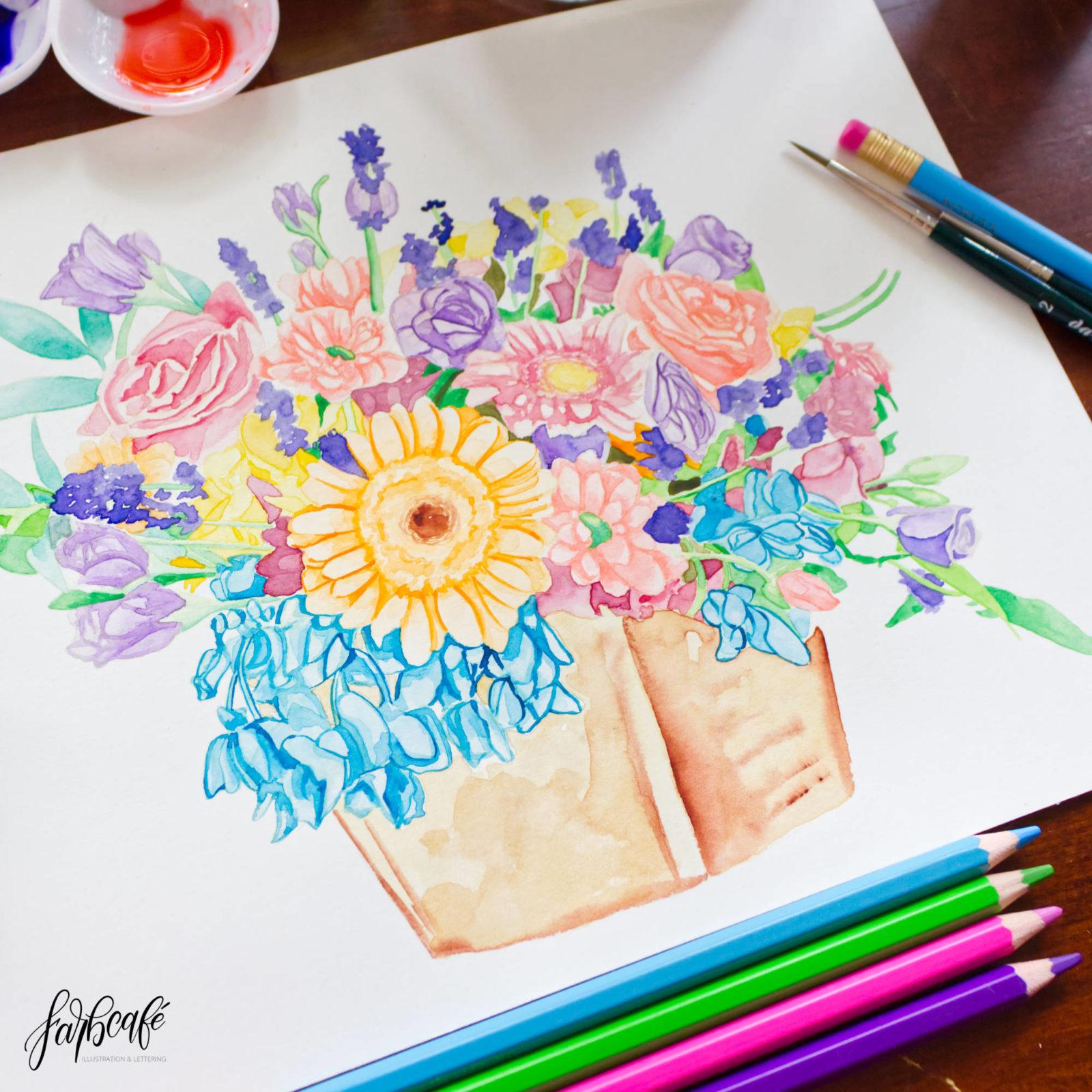 Aquarell Blumen, halbrealistisches Stillleben