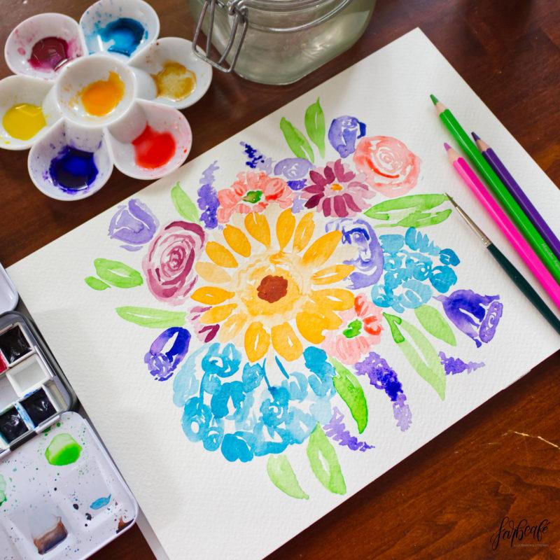 Aquarell Blumen Strauß in abstrakt